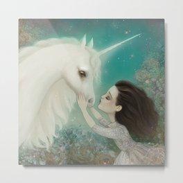 Unicorn Kiss Metal Print