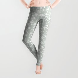 Block Printed Gray Green and White Stars Pattern Leggings