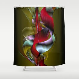 Flowered Khaki Shower Curtain