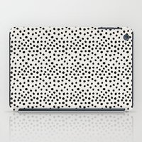 preppy iPad Cases featuring Preppy brushstroke free polka dots black and white spots dots dalmation animal spots design minimal by CharlotteWinter