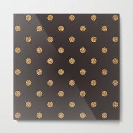 Dark Lava Gold Glitter Dot Pattern Metal Print
