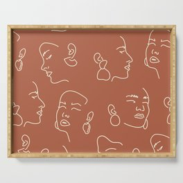 Face Line Art Terra Cotta Wall Art Print, Above Bed Decor Simple Prints, One Line Faces Art Serving Tray