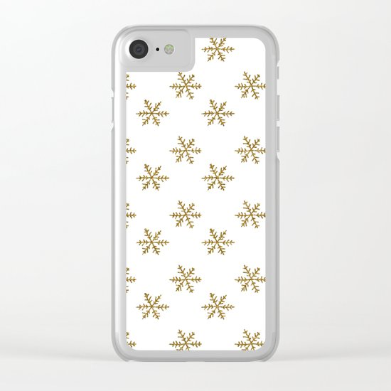 Merry christmas- Gold glitter snowflakes- Winter pattern Clear iPhone Case