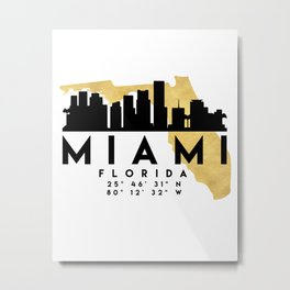 MIAMI FLORIDA SILHOUETTE SKYLINE MAP ART Metal Print