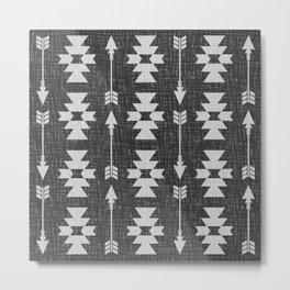 Southwestern Arrow Pattern 238 Black Grey and White Metal Print