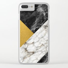Gold foil white black marble #4 Clear iPhone Case