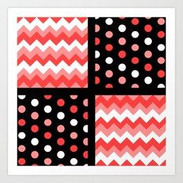 Black/Two-Tone Red/White Chevron/Polkadot #BuyArt #ArtofGaneneK Art Print