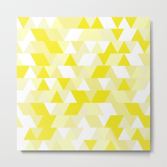 Simple Geometric Triangle Pattern- White on Yellow- Mix & Match with Simplicity of life Metal Print