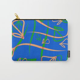 Geometric pastel pattern from vegetative peach and mint elements on a blue background. Carry-All Pouch