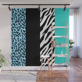 Animal Print, Zebra Stripes, Leopard Spots - Blue Wall Mural