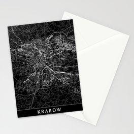 Krakow Black Map Stationery Cards