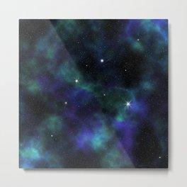 Blue Green Galaxy Metal Print