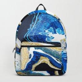 Gold Blue Black White Geode Backpack
