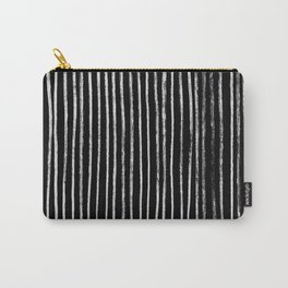 White Line Pattern on Black Carry-All Pouch