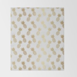 Gold Pineapple Pattern Throw Blanket