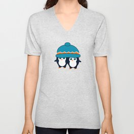 When two cute penguins find a beanie Unisex V-Neck