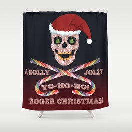 Holly Jolly Roger Xmas Shower Curtain