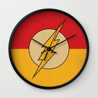 dc comics Wall Clocks featuring Flash Logo Minimalist Art Print DC Comics by The Retro Inc