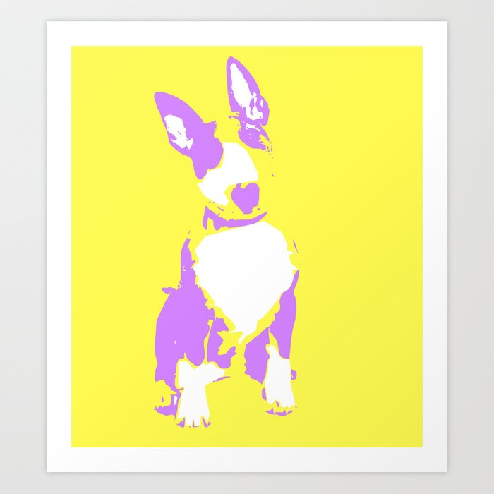 Puppy in yellow purple and white art print Art Print