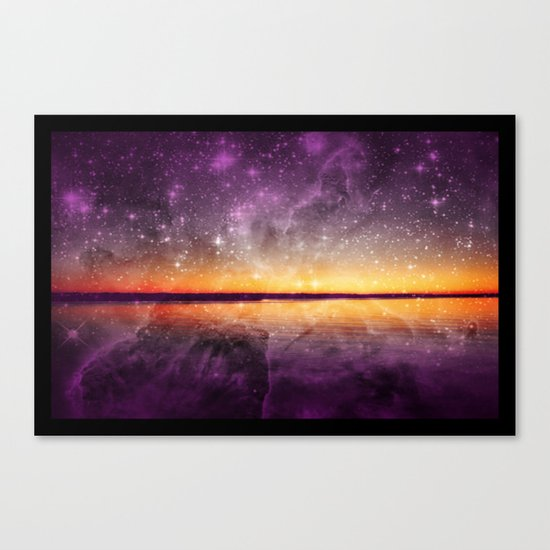 Violet Stars And Sunset Lake Canvas Print