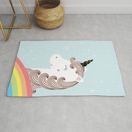 Unicorn and rainbow Rug