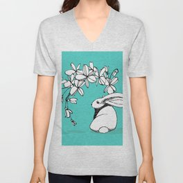Happy Easter Bunny and Easter Flowers on Teal 1 Unisex V-Neck