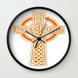 St Patrick's Day Celtic Cross Orange and White Wall Clock