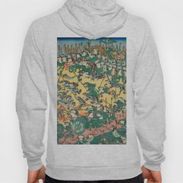 Frog Battle Japanese Print by Kawanabe Kyosai, 1864 Hoody