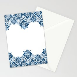 Blue lace on white background . Stationery Cards