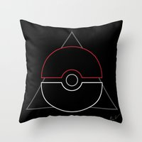 pokeball Throw Pillows featuring pokeball by Winter Graphics