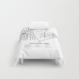 Twin Cities Lines Map Comforters