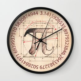 Pi Symbol Sketch Wall Clock
