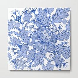 Lace blue design. Vector fashion illustration Metal Print
