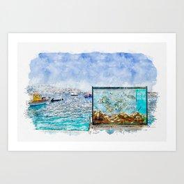 Aquarelle sketch art. Beautiful Santorini sea view on the see and aquarium Art Print