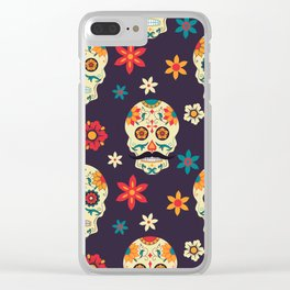 Colorful sugar skuls pattern Clear iPhone Case
