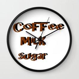 coffee Milk Sugar Wall Clock