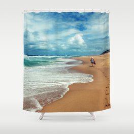 Walking Along the Beach Leaving Sandy Footprints Shower Curtain