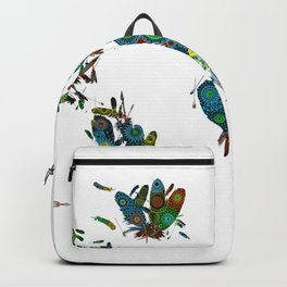 world map feathers mandala 2 Backpack