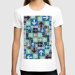 Arrow Pattern Blue Green Gray T-shirt