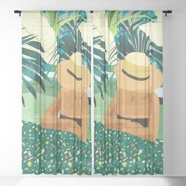 Chill #illustration #travel Sheer Curtain