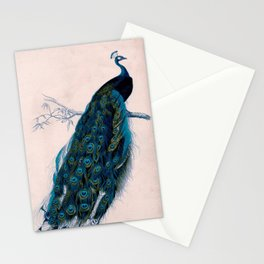 Vintage peacock bird print colorful feathers 1800s antique art nouveau deco nature book plate Stationery Cards