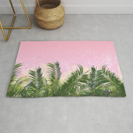 Palm leaves in the wind ( coral pink ) Rug