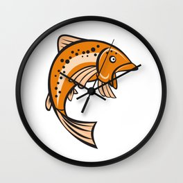 Trout Rainbow Fish Jumping Up Cartoon  Wall Clock