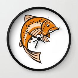 Trout Rainbow Fish Jumping Up Cartoon  Wall Clock