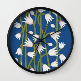 Climbing Lillies on Classic Blue Wall Clock