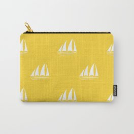 White Sailboat Pattern on yellow background Carry-All Pouch