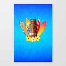 Surfboards And Tiki Mask Canvas Print