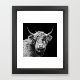 Highland Cow Black And White Framed Art Print