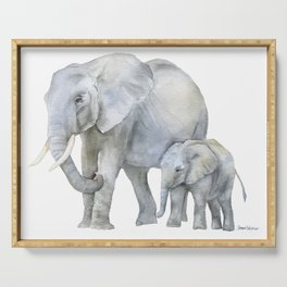Mother and Baby Elephants Serving Tray