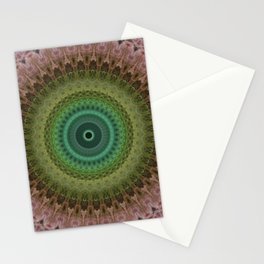 Mandala with light and dark green and red Stationery Cards